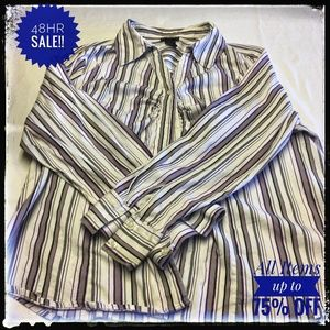 LANE BRYANT WHITE PURPLE STRIPED LONG SLEEVE SHIRT